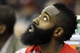 Mar 22, 2014; Cleveland, OH, USA; Houston Rockets guard James Harden watches from the bench during the fourth quarter against the Cleveland Cavaliers at Quicken Loans Arena. Houston won 118-111. Mandatory Credit: Ken Blaze-USA TODAY Sports