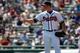 Mar 14, 2014; Lake Buena Vista, FL, USA; Atlanta Braves relief pitcher Craig Kimbrel (46) during the fifth inning against the Tampa Bay Rays at Champion Stadium. Mandatory Credit: Kim Klement-USA TODAY Sports