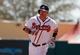 Mar 14, 2014; Lake Buena Vista, FL, USA; Atlanta Braves left fielder Joey Terdoslavich (25) hits a home run during the sixth inning against the Tampa Bay Rays at Champion Stadium. Mandatory Credit: Kim Klement-USA TODAY Sports