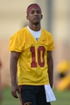 Mar 11, 2014; Los Angeles, CA, USA; Southern California Trojans receiver Jalen Greene (10) at spring practice at Howard Jones Field. Mandatory Credit: Kirby Lee-USA TODAY Sports