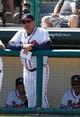 Mar 14, 2014; Lake Buena Vista, FL, USA; Atlanta Braves manager Fredi Gonzalez (33) against the Tampa Bay Rays at Champion Stadium. Mandatory Credit: Kim Klement-USA TODAY Sports