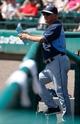 Mar 14, 2014; Lake Buena Vista, FL, USA; Tampa Bay Rays manager Joe Maddon (70) against the Atlanta Braves at Champion Stadium. Mandatory Credit: Kim Klement-USA TODAY Sports