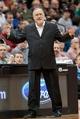 Mar 23, 2014; Minneapolis, MN, USA; Minnesota Timberwolves head coach Rick Adelman reacts in the third quarter against the Phoenix Suns at Target Center. Phoenix wins 127-120. Mandatory Credit: Brad Rempel-USA TODAY Sports