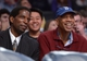 Mar 23, 2014; Los Angeles, CA, USA; Los Angeles Lakers former players A.C. Green (L) and Kareem Abdul-Jabbar (R) watch the game against the Orlando Magic at Staples Center. Mandatory Credit: Kirby Lee-USA TODAY Sports
