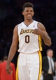 Mar 23, 2014; Los Angeles, CA, USA; Los Angeles Lakers guard Nick Young (0) gestures from the court in the second half against the Orlando Magic at Staples Center. The Lakers won 103-94. Mandatory Credit: Kirby Lee-USA TODAY Sports