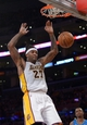 Mar 23, 2014; Los Angeles, CA, USA; Los Angeles Lakers forward Jordan Hill (27) dunks the ball against the Orlando Magic at Staples Center. The Lakers won 103-94. Mandatory Credit: Kirby Lee-USA TODAY Sports