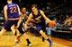 Mar 24, 2014; Atlanta, GA, USA; Phoenix Suns guard Goran Dragic (1) tries to dribble past Atlanta Hawks guard Jeff Teague (0) during the first half at Philips Arena. Mandatory Credit: Dale Zanine-USA TODAY Sports