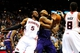 Mar 24, 2014; Atlanta, GA, USA; Atlanta Hawks forward DeMarre Carroll (5) and Phoenix Suns guard Eric Bledsoe (2) fight for a rebound during the second half at Philips Arena. The Suns defeated the Hawks 102-95. Mandatory Credit: Dale Zanine-USA TODAY Sports