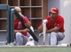 Mar 25, 2014; Mesa, AZ, USA; Los Angeles Angels Albert Pujols (5) and Raul Ibanez (28) wait to hit in the third inning against the Chicago Cubs at HoHoKam Park. Mandatory Credit: Rick Scuteri-USA TODAY Sports