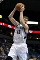 Mar 26, 2014; Minneapolis, MN, USA; Minnesota Timberwolves forward Kevin Love (42) grabs a rebound during the first quarter against the Atlanta Hawks at Target Center. Mandatory Credit: Brace Hemmelgarn-USA TODAY Sports