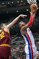 Mar 26, 2014; Auburn Hills, MI, USA; Cleveland Cavaliers center Spencer Hawes (32) attempts to block Detroit Pistons forward Greg Monroe (10) during the first quarter at The Palace of Auburn Hills. Mandatory Credit: Tim Fuller-USA TODAY Sports