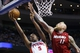 Mar 28, 2014; Auburn Hills, MI, USA; Detroit Pistons guard Kentavious Caldwell-Pope (5) shoots on Miami Heat forward Chris Andersen (11) in the fourth quarter at The Palace of Auburn Hills. Miami won 110-78. Mandatory Credit: Rick Osentoski-USA TODAY Sports