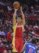 Mar 29, 2014; Houston, TX, USA; Houston Rockets guard Jeremy Lin (7) shoots during the second quarter against the Los Angeles Clippers at Toyota Center. Mandatory Credit: Troy Taormina-USA TODAY Sports