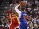 Mar 29, 2014; Houston, TX, USA; Los Angeles Clippers guard Chris Paul (3) shoots during the second quarter as Houston Rockets forward Terrence Jones (6) defends at Toyota Center. Mandatory Credit: Troy Taormina-USA TODAY Sports