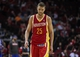 Mar 29, 2014; Houston, TX, USA; Houston Rockets forward Chandler Parsons (25) reacts after a play during the fourth quarter against the Los Angeles Clippers at Toyota Center. The Clippers defeated the Rockets 118-107. Mandatory Credit: Troy Taormina-USA TODAY Sports