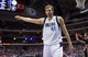 Mar 29, 2014; Dallas, TX, USA; Dallas Mavericks forward Dirk Nowitzki (41) signals for Dallas possession during the second half against the Sacramento Kings at the American Airlines Center. The Mavericks defeated the Kings 103-100. Mandatory Credit: Jerome Miron-USA TODAY Sports