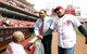 Mar 31, 2014; Cincinnati, OH, USA; St. Louis Cardinals third base coach Jose Oquendo (11) talks to former Reds players Barry Larkin (center) and Dave Concepcion (13) prior to the game at Great American Ball Park. Mandatory Credit: Frank Victores-USA TODAY Sports