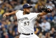 Mar 31, 2014; Milwaukee, WI, USA;   Milwaukee Brewers pitcher Francisco Rodriguez (57) pitches in the ninth inning against the Atlanta Braves of an opening day baseball game at Miller Park. Rodriquez picked up a save as the Brewers beat the Braves 2-0.   Mandatory Credit: Benny Sieu-USA TODAY Sports