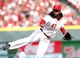 Mar 31, 2014; Cincinnati, OH, USA; Cincinnati Reds starting pitcher Johnny Cueto (47) follows through during the second inning against the St. Louis Cardinals at Great American Ball Park. Mandatory Credit: Frank Victores-USA TODAY Sports