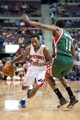 Mar 31, 2014; Auburn Hills, MI, USA; Detroit Pistons guard Brandon Jennings (7) dribbles the ball around Milwaukee Bucks guard Brandon Knight (11) during the second quarter at The Palace of Auburn Hills. Mandatory Credit: Tim Fuller-USA TODAY Sports