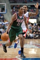 Mar 31, 2014; Auburn Hills, MI, USA; Milwaukee Bucks guard Brandon Knight (11) dribbles the ball against the Detroit Pistons during the third quarter at The Palace of Auburn Hills. Pistons won 116-111. Mandatory Credit: Tim Fuller-USA TODAY Sports