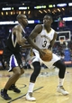 Mar 31, 2014; New Orleans, LA, USA;  New Orleans Pelicans guard Anthony Morrow (3) is defended by Sacramento Kings forward Travis Outlaw (25) in the second half at the Smoothie King Center. Sacramento defeated New Orleans 102-97. Mandatory Credit: Crystal LoGiudice-USA TODAY Sports