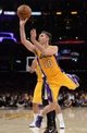 Apr 1, 2014; Los Angeles, CA, USA;  Los Angeles Lakers guard Steve Nash (10) shoots against the Portland Trail Blazers during the second half of the game at Staples Center. Trail Blazers won 124-112. Mandatory Credit: Jayne Kamin-Oncea-USA TODAY Sports