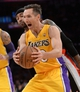 Apr 1, 2014; Los Angeles, CA, USA;  Portland Trail Blazers guard Mo Williams (25) guards Los Angeles Lakers guard Steve Nash (10) during the second half of the game at Staples Center. Trail Blazers won 124-112. Mandatory Credit: Jayne Kamin-Oncea-USA TODAY Sports