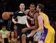 Apr 1, 2014; Los Angeles, CA, USA;  Los Angeles Lakers center Pau Gasol (16) guards Portland Trail Blazers forward LaMarcus Aldridge (12) during the second half of the game at Staples Center. Trail Blazers won 124-112. Mandatory Credit: Jayne Kamin-Oncea-USA TODAY Sports