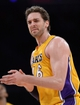 Apr 1, 2014; Los Angeles, CA, USA;  Los Angeles Lakers center Pau Gasol (16) during the second half of the game against the Portland Trail Blazers at Staples Center. Trail Blazers won 124-112. Mandatory Credit: Jayne Kamin-Oncea-USA TODAY Sports