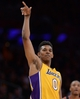 Apr 1, 2014; Los Angeles, CA, USA;  Los Angeles Lakers forward Nick Young (0) celebrates a 3 point basket during the second half of the game against the Portland Trail Blazers at Staples Center. Trail Blazers won 124-112. Mandatory Credit: Jayne Kamin-Oncea-USA TODAY Sports