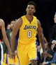 Apr 1, 2014; Los Angeles, CA, USA; Los Angeles Lakers forward Nick Young (0) heads down court after a 3 point basket during the first half of the game against the Portland Trail Blazers at Staples Center. Mandatory Credit: Jayne Kamin-Oncea-USA TODAY Sports