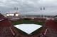 Apr 2, 2014; Cincinnati, OH, USA; A general view of the tarp covering the field during a rain delay prior to the game between the Cincinnati Reds and the St. Louis Cardinals at Great American Ball Park. Mandatory Credit: Frank Victores-USA TODAY Sports