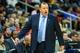 Apr 2, 2014; Atlanta, GA, USA; Chicago Bulls head coach Tom Thibodeau reacts to a play in the first half against the Atlanta Hawks at Philips Arena. Mandatory Credit: Daniel Shirey-USA TODAY Sports