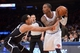 Apr 2, 2014; New York, NY, USA; Brooklyn Nets guard Shaun Livingston (14) guards New York Knicks guard J.R. Smith (8) during the second half at Madison Square Garden. The New York Knicks won 110-81. Mandatory Credit: Joe Camporeale-USA TODAY Sports