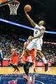 Apr 2, 2014; Atlanta, GA, USA; Atlanta Hawks guard Jeff Teague (0) shoots a basket in the second half against the Chicago Bulls at Philips Arena. The Bulls won 105-92. Mandatory Credit: Daniel Shirey-USA TODAY Sports