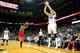 Apr 2, 2014; Atlanta, GA, USA; Atlanta Hawks guard Kyle Korver (26) shoots a three point shot in the second half against the Chicago Bulls at Philips Arena. The Bulls won 105-92. Mandatory Credit: Daniel Shirey-USA TODAY Sports