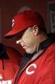 Apr 2, 2014; Cincinnati, OH, USA; Cincinnati Reds manager Bryan Price (38) looks at the line up card prior to the start against the St. Louis Cardinals at Great American Ball Park. Mandatory Credit: Frank Victores-USA TODAY Sports