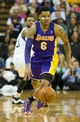 Apr 2, 2014; Sacramento, CA, USA; Los Angeles Lakers guard Kent Bazemore (6) steals the ball against Sacramento Kings forward Derrick Williams (13) during the second quarter at Sleep Train Arena. Mandatory Credit: Kelley L Cox-USA TODAY Sports