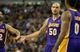 Apr 2, 2014; Sacramento, CA, USA; Los Angeles Lakers center Robert Sacre (50) high fives guard Kendall Marshall (12) and forward Nick Young (0) after a basket and foul against the Sacramento Kings during the second quarter at Sleep Train Arena. Mandatory Credit: Kelley L Cox-USA TODAY Sports