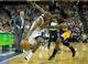 Apr 2, 2014; Sacramento, CA, USA; Los Angeles Lakers forward Jordan Hill (27) fouls Sacramento Kings forward Travis Outlaw (25) for his sixth foul during the fourth quarter at Sleep Train Arena. The Sacramento Kings defeated the Los Angeles Lakers 107-102. Mandatory Credit: Kelley L Cox-USA TODAY Sports