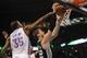 Apr 3, 2014; Oklahoma City, OK, USA; Oklahoma City Thunder forward Kevin Durant (35) blocks a shot attempt by San Antonio Spurs center Tiago Splitter (22) during the third quarter at Chesapeake Energy Arena. Mandatory Credit: Mark D. Smith-USA TODAY Sports