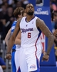 Apr 3, 2014; Los Angeles, CA, USA;  Los Angeles Clippers center DeAndre Jordan (6) reacts to a basket during the second half of the game against the Dallas Mavericks at Staples Center. Mavericks won 113-107. Mandatory Credit: Jayne Kamin-Oncea-USA TODAY Sports