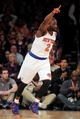 Apr 4, 2014; New York, NY, USA; New York Knicks point guard Raymond Felton (2) reacts after hitting a three point shot against the Washington Wizards during the first quarter of a game at Madison Square Garden. Mandatory Credit: Brad Penner-USA TODAY Sports