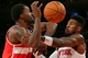 Apr 4, 2014; New York, NY, USA; Washington Wizards small forward Martell Webster (9) loses the ball out of bounds while defended by New York Knicks shooting guard Iman Shumpert (21) during the first quarter of a game at Madison Square Garden. Mandatory Credit: Brad Penner-USA TODAY Sports