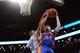 Apr 4, 2014; Brooklyn, NY, USA; Brooklyn Nets guard Marcus Thornton (10) blocks a shot by Detroit Pistons guard Peyton Siva (34) during the first half at Barclays Center. Mandatory Credit: Joe Camporeale-USA TODAY Sports