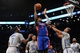 Apr 4, 2014; Brooklyn, NY, USA; Detroit Pistons center Andre Drummond (0) puts up a shot against the Brooklyn Nets during the first half at Barclays Center. Mandatory Credit: Joe Camporeale-USA TODAY Sports
