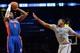 Apr 4, 2014; Brooklyn, NY, USA; Brooklyn Nets forward Alan Anderson (6) shoots over Brooklyn Nets guard Joe Johnson (7) during the first half at Barclays Center. Mandatory Credit: Joe Camporeale-USA TODAY Sports