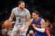 Apr 4, 2014; Brooklyn, NY, USA; Detroit Pistons guard Peyton Siva (34) guards Brooklyn Nets guard Deron Williams (8) during the first half at Barclays Center. Mandatory Credit: Joe Camporeale-USA TODAY Sports
