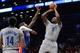 Apr 4, 2014; Brooklyn, NY, USA; Brooklyn Nets center Andray Blatche (0) shoots over Detroit Pistons forward Josh Smith (6) during the second half at Barclays Center. The Nets won 116-104. Mandatory Credit: Joe Camporeale-USA TODAY Sports